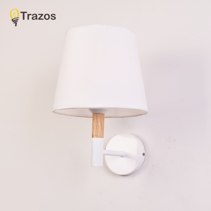 TRAZOS Nordic Bedroom Wall Lamp applique murale luminaire Wall Sconce With Fabric Lampshade E27 Indoor Home Lighting цена 2017