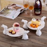 ceramic rabbit fruit dessert decorative plate Baking dish Snack Salad dish bunny cake plates home decor wedding decorations gift