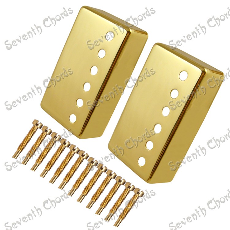A set Gold Brass Guitar Humbucker Pickup Covers With Polepiece Screws Electric For Electric Guitar accessories niko 50pcs chrome single coil pickup screws