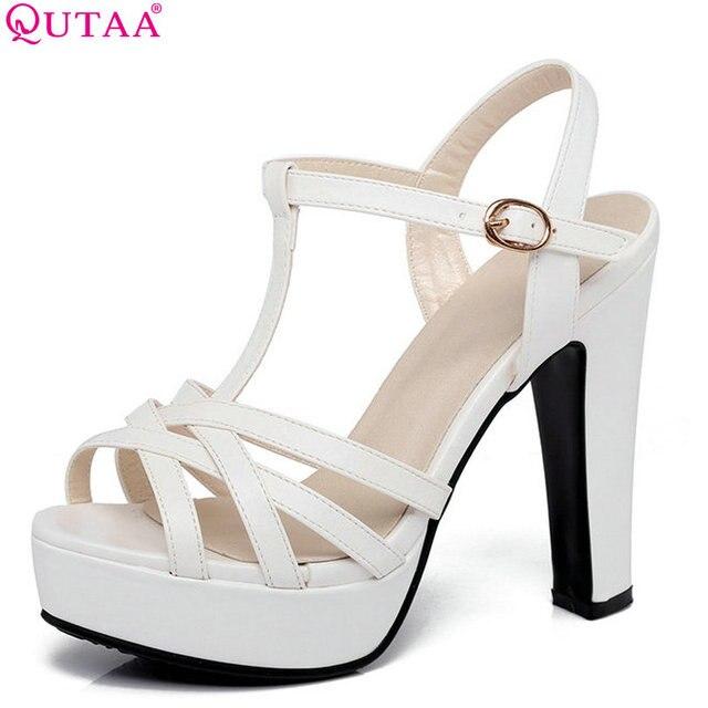 72f7c179528c QUTAA 2017 Women Sandal Square High Heel Platform Women Shoes Slingback Peep  Toe PU Leather Ladies Wedding Shoes Size 34-43