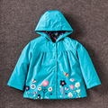 New children's clothing jacket lovely flowers print wind rain girls coats waterproof Hoodie candy color kids outerwear 90-120cm