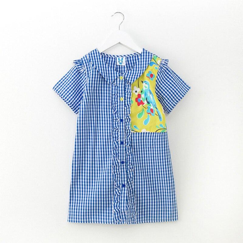Tanggetu Girl Dress Cotton Plaid Short Sleeve in Summer 2018 Girl's Simple Dress with Cartoon Pattern Blue and White Stripe cqda stripe pattern blended cotton leggings blue white m