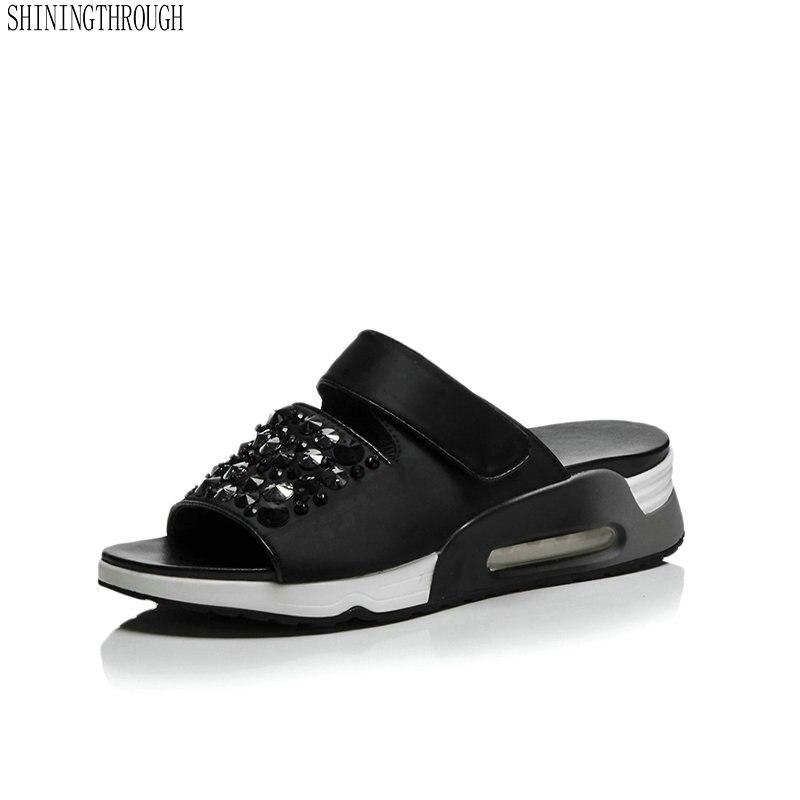 Women slippers 2018 Summer Genuine Leather sandals Woman Flip Flops Wedges Fashion Platform Female Slides Ladies Shoes Peep Toe