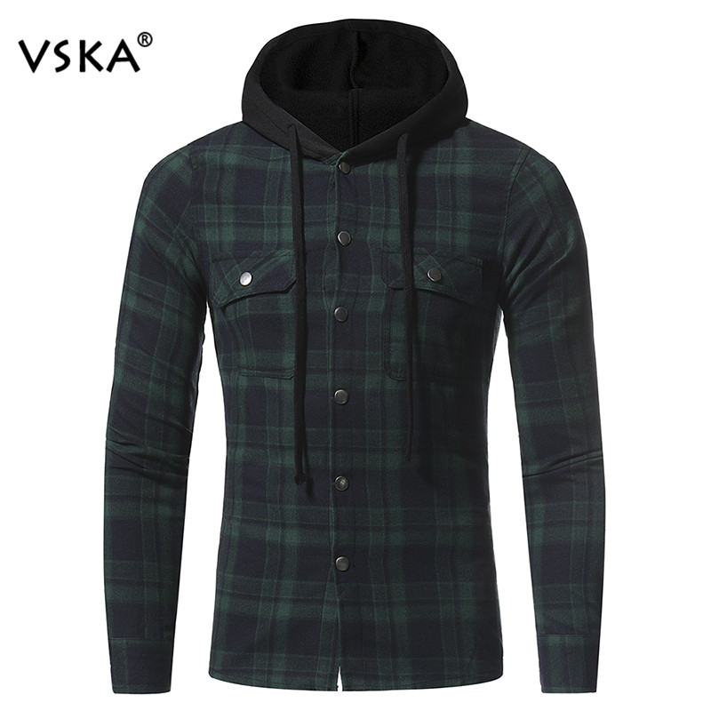Hot Sale Fashion Flannel Plaid Shirts Men Long Sleeve Slim Hoody Shirt Male Double Pockets Casual Shirts ...
