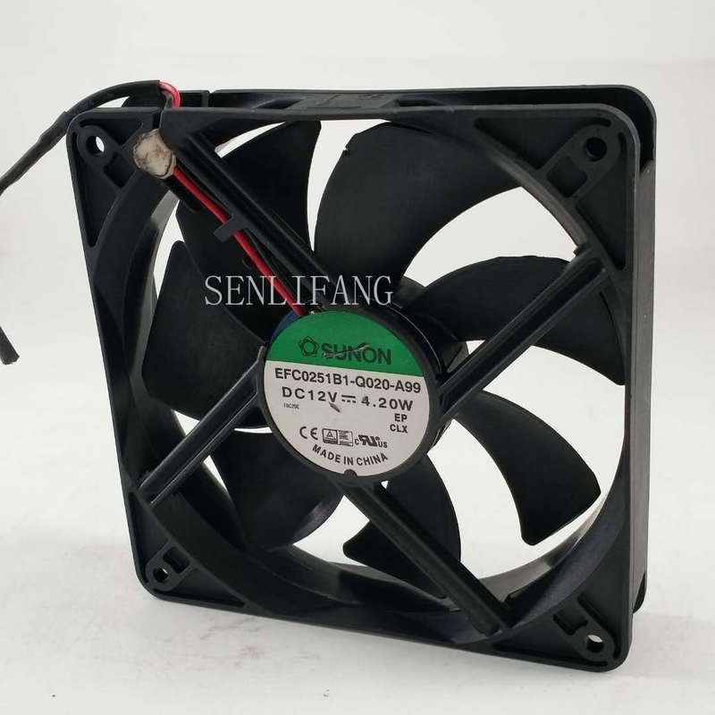 12025 EFC0251B1-Q020-A99 120*120*25MM DC 12V 4.20W 12CM 2-wire Cooling Fan
