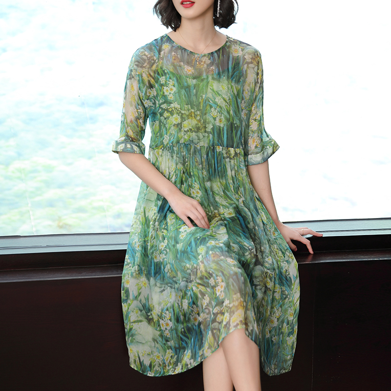 Flowing Green Silk Dress High Quality Plus Size Big for Women 2019 Summer Print Robe Tunic Dresses Ruffles Party Night Clothing