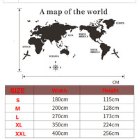Wall Art Decal World Map Sticker Globe Earth Decor for Kid's Room Home DIY Mirror 3D Acrylic Self-adhesive Removable