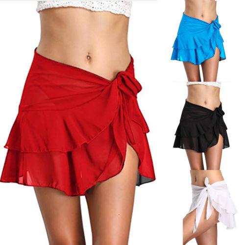 e290feeb9b New Women Short Skirts Ruffle Bandage Sarong Wrap Beach Cover Up  Perspective Skirt Ladies Beach Dress Sarong Swimwear