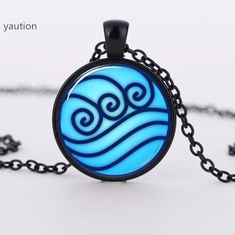 Avatar the Last Airbender Legend of Korra Water Tribe Glass silver Necklace#533