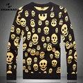 SHAN BAO marca ocasional em torno do pescoço camisola dos homens de roupas personalidade teste padrão do crânio outono e inverno espessamento quente camisola 9803