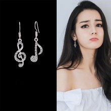 Asymmetric Personality Trendy Music Notes Ear Hook Crystal Silver Color Rhinestone Earring Women Accessory Lady Dangle Earrings(China)
