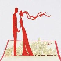 50 pcs Noiva eo Noivo Cartão de Convite de Casamento Romântico Oco Rose Flor 3D Cartões de Aniversário Do Partido Cartões Com Envelope