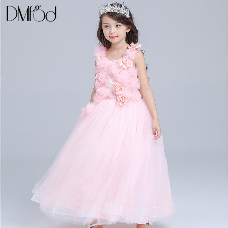 New Pink Flower Girl Dress For Wedding Wear Birthday Party Evening Dress Outfits Children Kids Girls Formal Dress Clothes 8506 azel 4 12t children party wear short front long back formal dress white princess wedding flower girl vestidos girls clothes