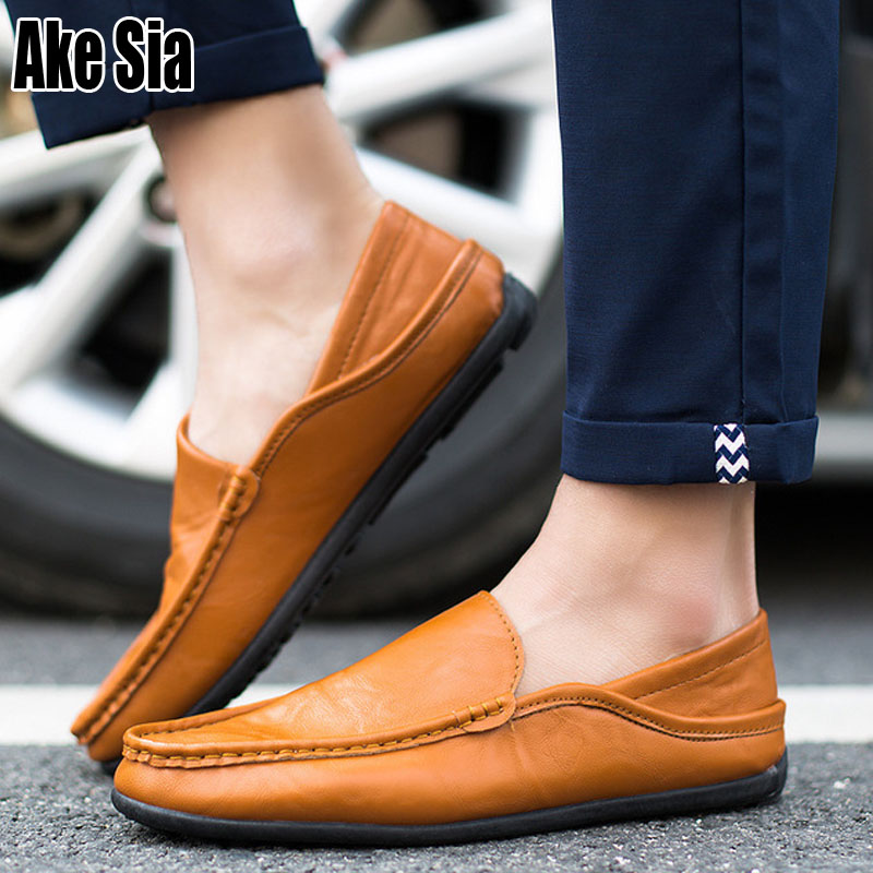 Ake Sia Male Fashion Casual PU Leather Loafers Hombre Men Flattie Zapatos Driver Comfort Slip-On Flat Lazy Moccasins Shoes A143