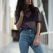 2018 Mesh Tee See Through Women T shirts Short Sleeve Perspective Shine Casual Women Tops Lady