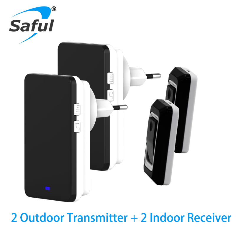Saful LED Wireless Doorbell Waterproof EU/US/AU/UK Plug-in 1 2 button and Receiver 110DB sound Smart 150M Wireless Door bell wireless service call bell system popular in restaurant ce passed 433 92mhz full equipment watch pager 1 watch 7 call button
