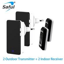 Saful LED Wireless Doorbell Waterproof EU/US/AU/UK Plug-in 1 2 button and Receiv