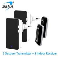 EU Plug In Wireless Doorbell Waterproof Outdoor Transmitter And Indoor Receiver Smart Wireless Door Bell Kits