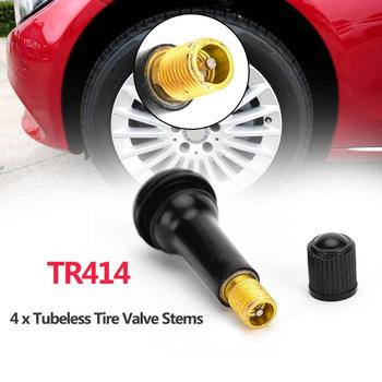 4 Uds caucho negro TR414 Snap-in neumático de la rueda del coche neumático sin cámara vástago de la válvula del neumático tapas de polvo Ruedas Neumáticos partes coche accesorios de coche