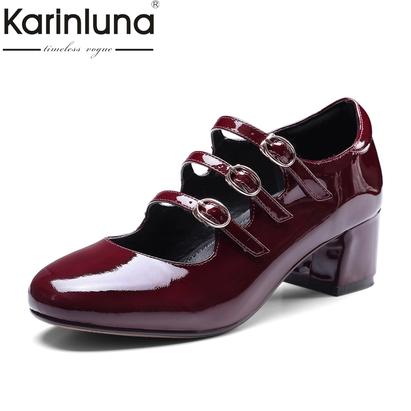 KarinLuna 2018 Genuine Leather Fashion Woman Pumps Round Toe Buckle Strap Shoes Woman Med Square Heel Women Shoes xiaying smile woman sandals summer square cover heel closed toe woman pumps buckle strap fashion casual hollow flock women shoes
