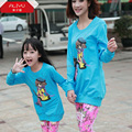 Family clothing sets new 2014 spring Cartoon casual T-Shirt Floral Pants 2 PCS set Mother and daughter Girls clothing set