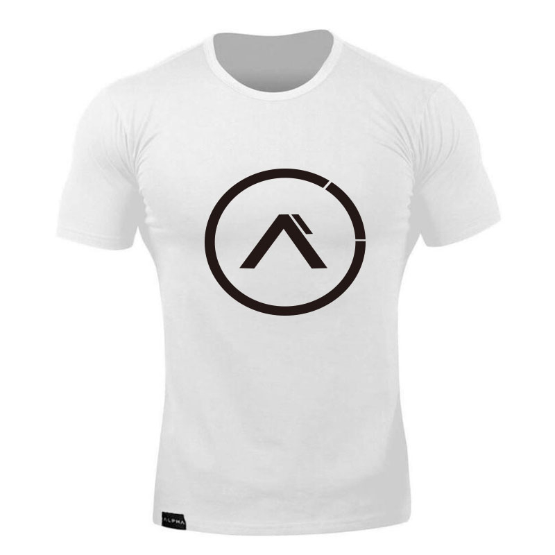 Fashion Men T-shirt Short Sleeves Print ALPHA Circle Male Solid Cotton Mens Tee Summer Fitness Bodybuilding Clothing