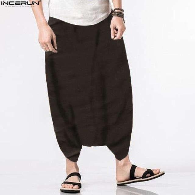 INCERUN 2018 Men Spring Summer Bloomers Male Casual Solid Harem Pants Fluid Big Crotch Pants Men Indian Nepal Baggy Pants S-5XL 2