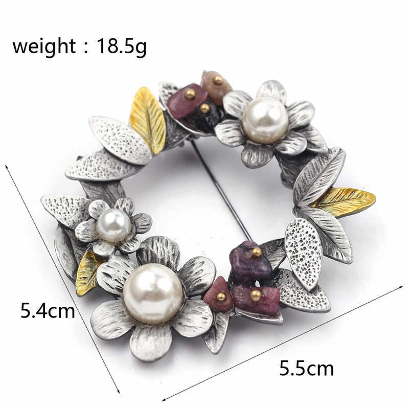 Baru Retro Nada Hitam Warna Berlian Imitasi Karangan Bunga Bunga Bros Pin Populer Klasik Wanita Syal Perhiasan Pin Cantik Buket