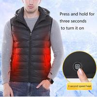 USB Men's Cotton Vest Smart Heating Men's Casual Vest Removable Cap Outdoor Heating Clothes For Men Women Winter Use