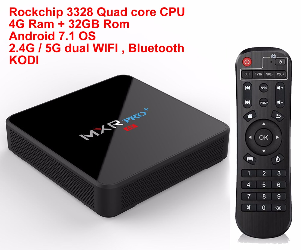 MXR PRO Plus Android 7.1 Smart TV BOX RK3328 Quad Core 4G/32G 4K H265 KODI 18.0 USB 3.0 Bluetooth 2.4G/5G Dual WIFI Media Player mk903v rk3288 quad core de android 5 1 smart tv stick mini pc 2g 8g 4k 2k h 265 2 4ghz 5ghz dual wifi otg usb smart tv
