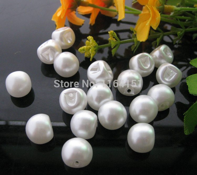 40pcs/lot Round White Pearl Buttons dia 12mm 3/8 buttons  sewing Jewelry scrapbooking