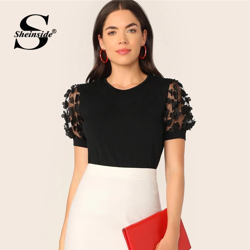 Sheinside Casual Applique Mesh Detail T-shirt Women 2019 Summer Puff Sleeve Tee Top Ladies Solid Patchwork Basic Top