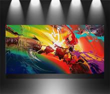 100%Handmade art black red large modern abstract oil paintings canvas sets no frame for living room 1 pcs/set (Free shipping)