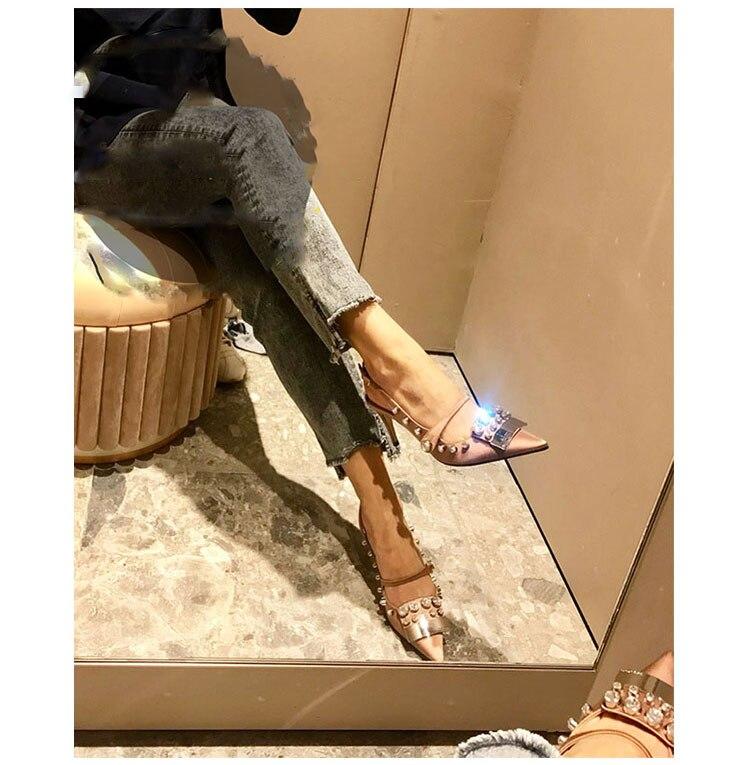 En Soie Mince Pointu Pompes Decoratation 8 Seule Sandale as Métal Bout Version As Chaussures Chaussure Lady Haute Fermer 5 Picture Nouvelle Picture Toe Cm Cristal Femmes Talon nqaXPtZwZ