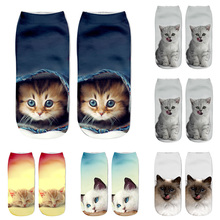 Hot Popular Casual Women Low Cut Short Socks 3D Printed Animal Cat Anklet Hosiery Ladies Short Socks Art Picture Girls Socks