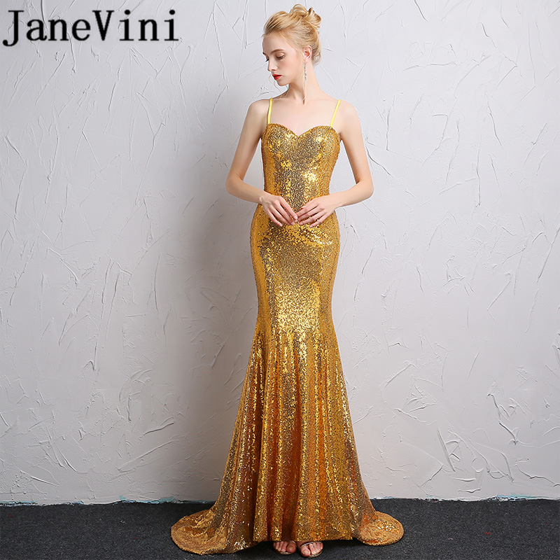 JaneVini Vestidos Sparkling Gold Sequined Long Evening Dresses Mermaid Spaghetti Straps Formal Mother of Bride Dresses Plus Size