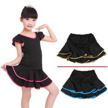Girls Dance Skirt Latin Salsa Cha Cha Rumba Samba Modern Ballroom Skirts With Shorts 10 Colors 3