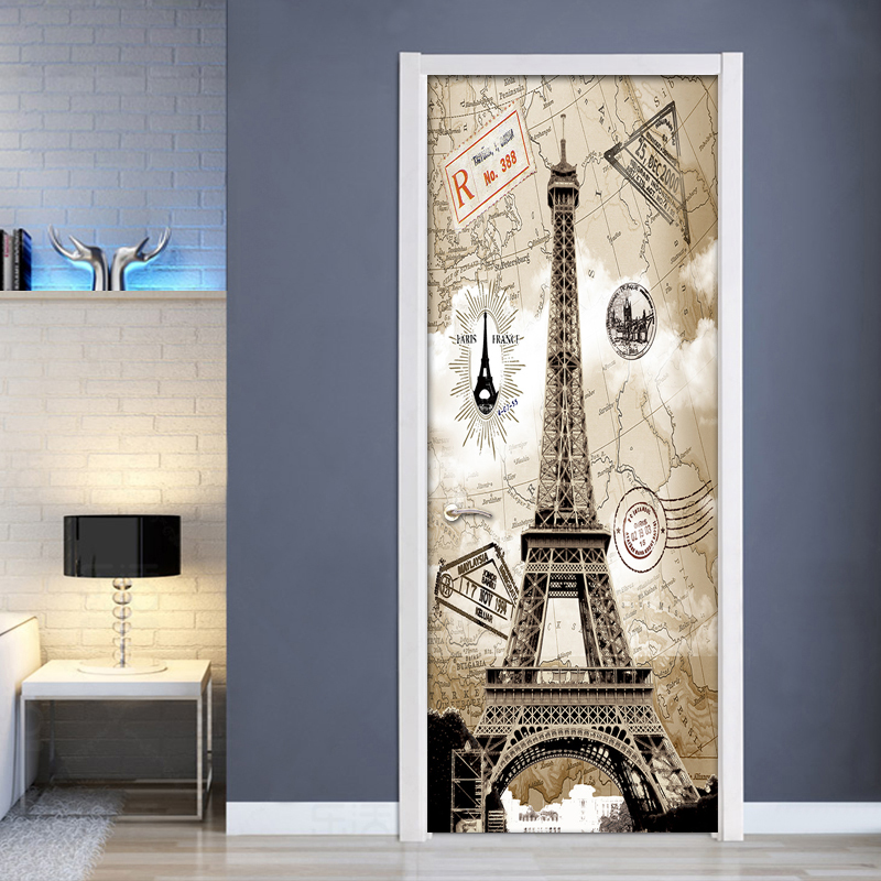 3D Door Sticker Livingroom Bedroom Wall Decoration Paris Eiffel Tower PVC Waterproof Self Adhesive Door Stickers Wallpaper Mural цена 2017
