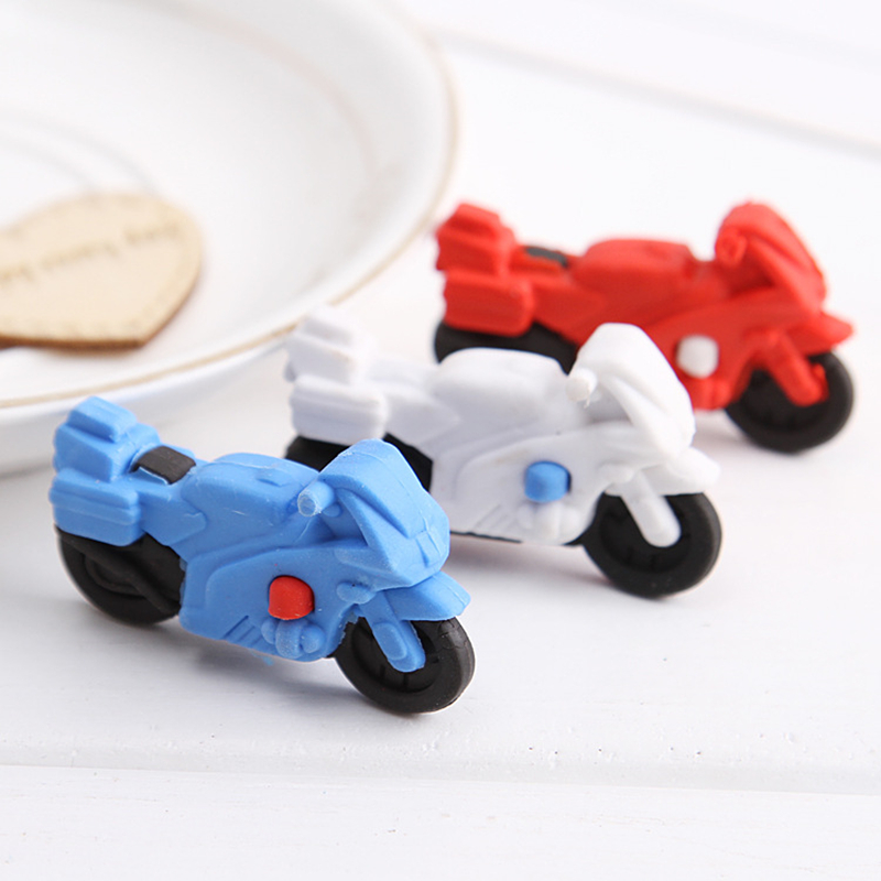 10pcs/pack(3 Colors Mix) New Creative Stationery Cute Cartoon Motorcycle Erasers  Gifts For Cool Boys And Girls Students Prize