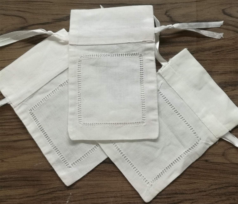 Set Of 240 Fashion Gifts Bags 4X6-inch White Linen Hemstitched Favor Bags Can Collection Wedding Hankies
