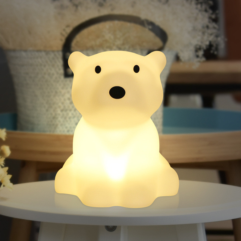Ins Hot Polar Bear Children LED Bed Table Lamp Dimmable Baby Bedroom US Pulg EU Plug LED Night Light for Kids Gift artpad pink blue cartoon figures led unicorn lamp e14 resin dimming eu us plug in kids baby night light for children