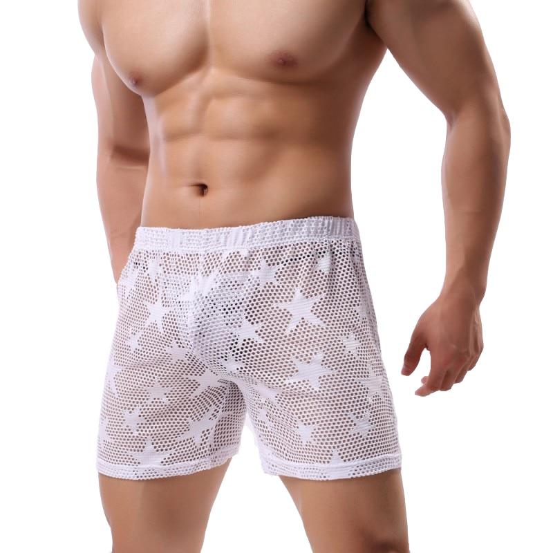 Pijama Hombre See Through Sexy Star Mesh Breathable Men's Pajamas Sleepwear Home Pajama Shorts Underwear Men Lounge Transparent