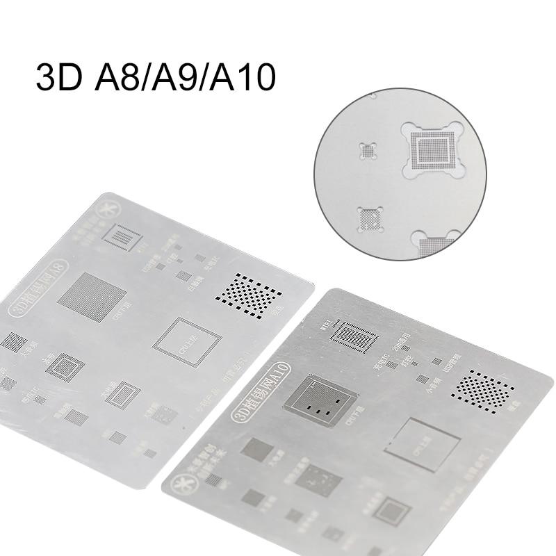 UANME Mi jing 3D BGA Reballing Stencil dedicate kit for A8 6G 6P A9 6S 6SP A10 7 7P A11 8 8P 12pcs lot high quality full set ic chip bga reballing stencil dedicate kit for iphone5s se 6g 6p 6s 6sp 7g 7p x 8g 8p