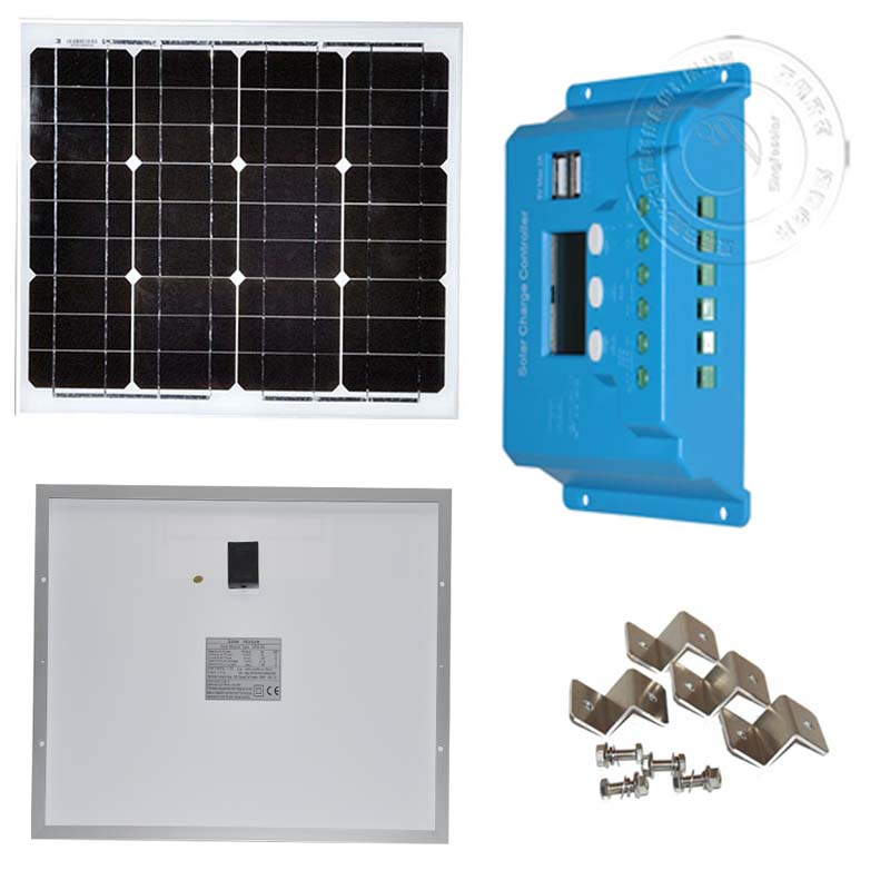 Kit Solaire Solar Pannel 12v 30w Batterie Charge Controller 12v/24v 10A LCD Dual USB Phone Camping Car Caravane