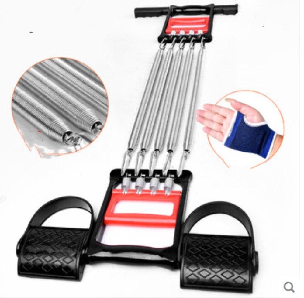 Livraison gratuite extracteur poitrine extenseur ressort bras barre de traction poids exerceur 5 ressorts équipement de sport installations de Fitness