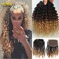 Блондинка Бразильской Девы Странный Вьющиеся Волосы С Закрытием 3 шт. 1B 4 27 Afro Kinky Вьющихся Волос Плетение Ombre Человеческих Волос С Закрытием