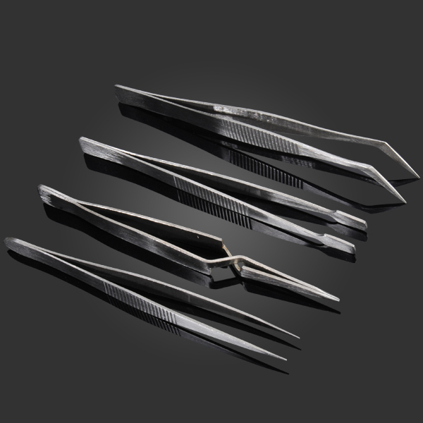 4 Pcs/Kit Mini Portable Precision BGA Tweezers Set Pointed / Slender Pointed / Flat Head / Curved Pointed Tweezers Suit New