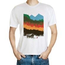 DY 184 Autumn Casual T Shirt Men Fashion O Neck Short Sleeve T Shirt Cartoon Design