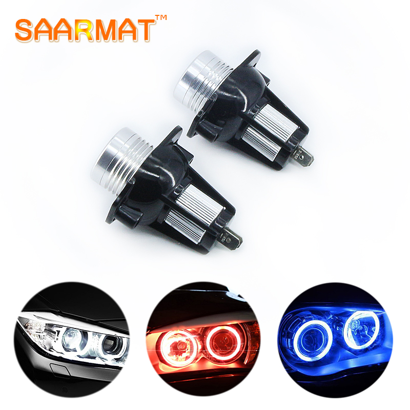 2X 10W For BMW E60 E61 E63 E64 E70 X5 E71 X6 E82 E87 E89 Z4 E90 E91 M3 LED CANBUS Angel Eyes light Headlight Lamp Blue white