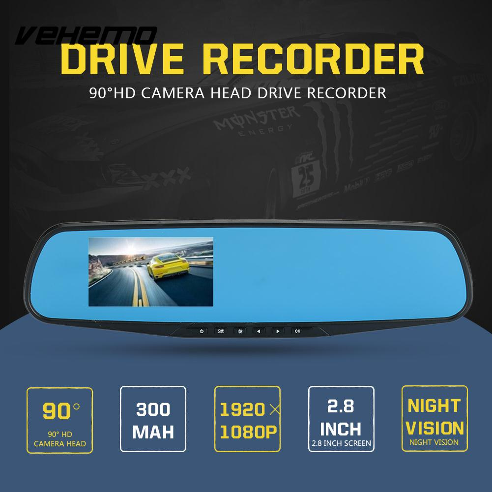Vehemo Night Vision Automobile Dash Cam Camcorder HD 1080P Premium Driving Recorder 2.8 Inches Rearview Smart
